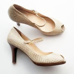 Cole Haan snake print peep toe mary jane heels